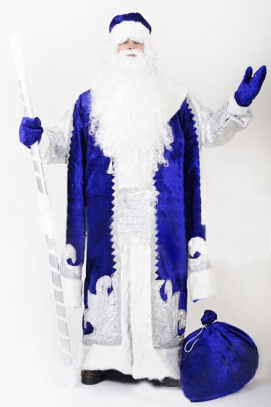 Царский костюм Деда Мороза синего цвета во весь рост.