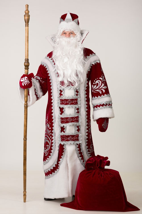 Купеческий Костюм Деда Мороза бордового цвета в Крыму